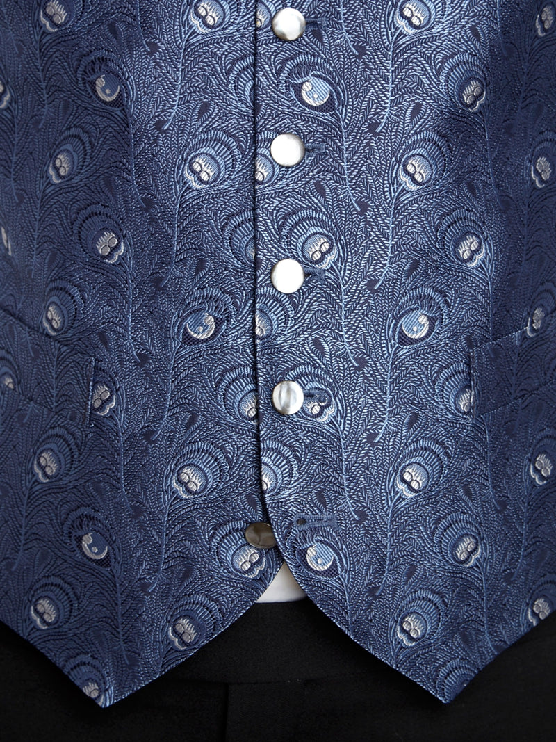 Navy Peacock Silk Single Breasted 6 Button Waistcoat