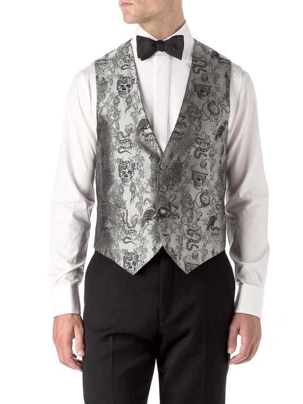 Silver St Giles Silk Single Breasted 4 Button Waistcoat