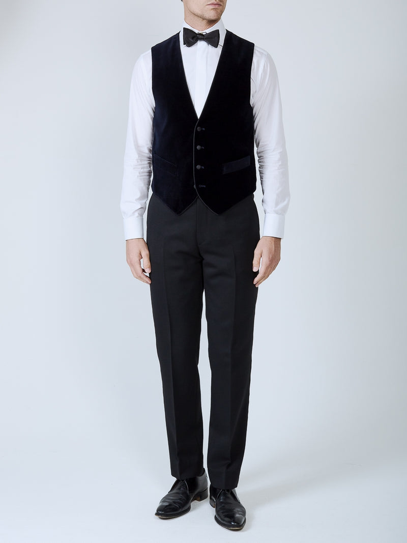 Navy Velvet Cotton Single Breasted 4 Buttons Piped Waistcoat