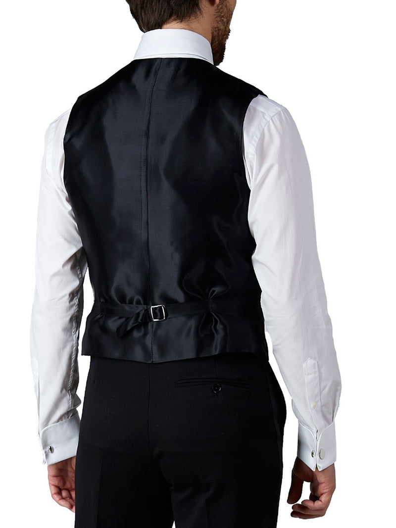 Black Albert Silk Single Breasted 4 Button Piped Waistcoat