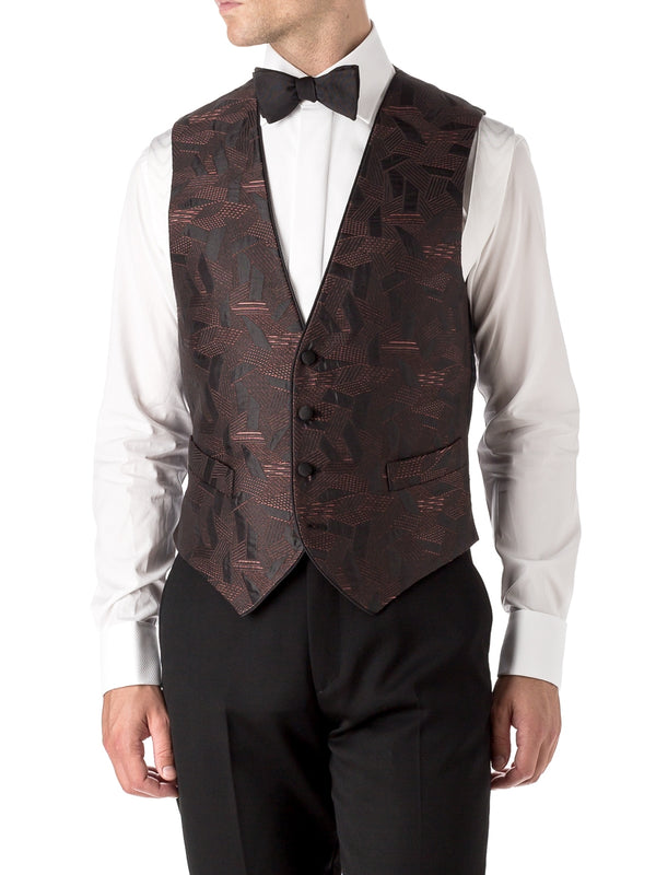 Orange Cork Silk Single Breasted 4 Button Piped Waistcoat