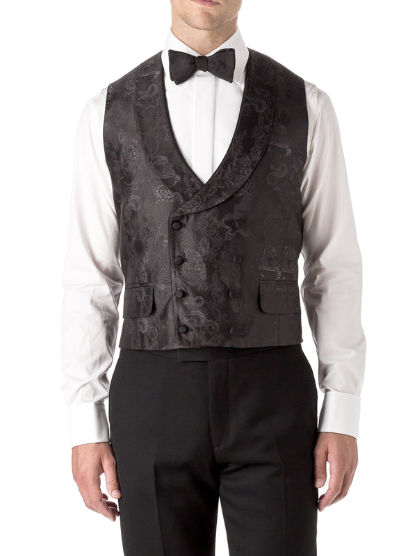 Black St Giles Silk Double Breasted 8 Button Piped Shawl Lapel Waistcoat
