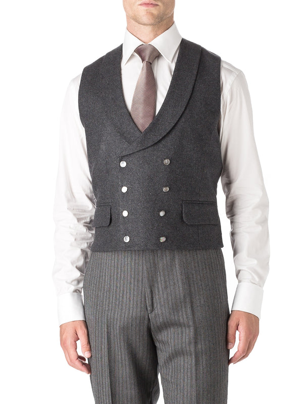Charcoal Shaftesbury Cashmere Wool Double Breasted 8 Button Shawl Lapel Waistcoat