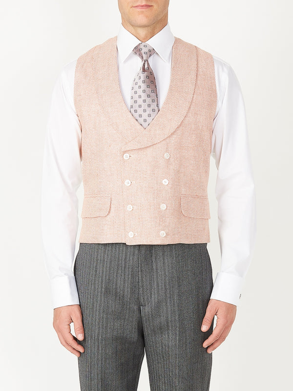 Coral Culcross Linen Double Breasted 8 Button Shawl Lapel Waistcoat