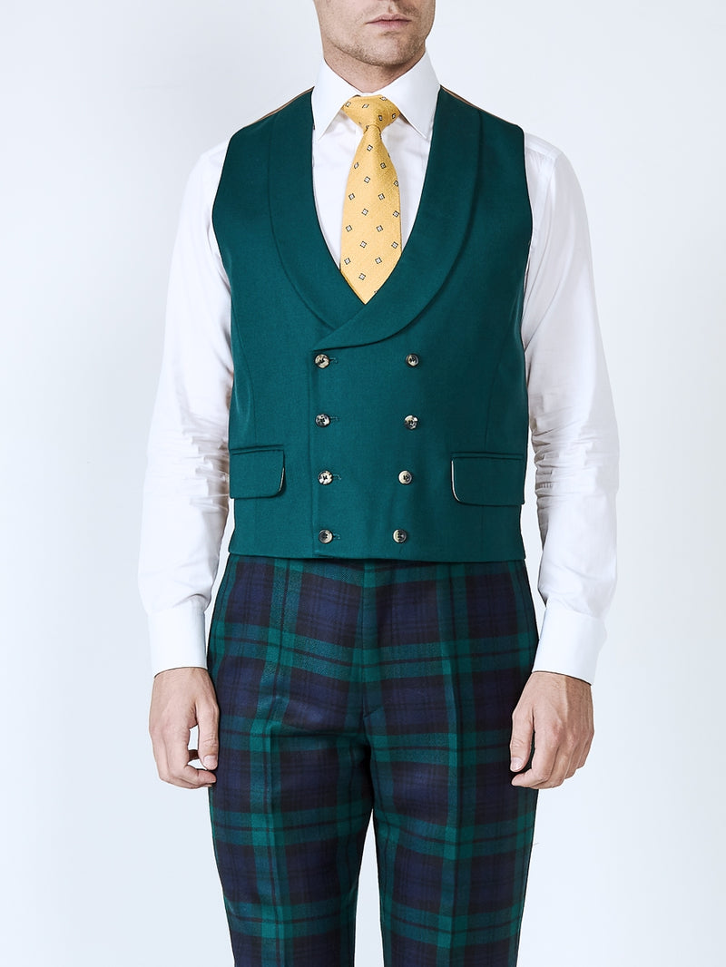 Forest Green Plain Wool Double Breasted 8 Button Shawl Lapel Waistcoat