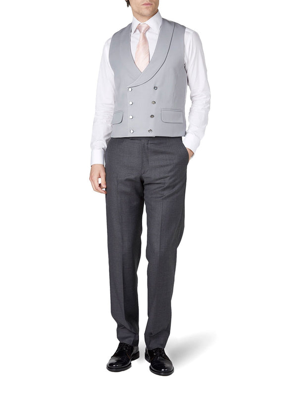 Grey Gabardine Wool Double-Breasted 8-Button Shawl Lapel Waistcoat