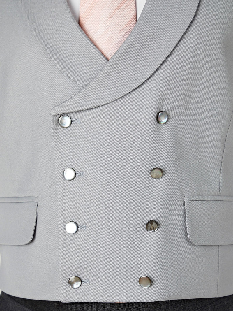Grey Gabardine Wool Double Breasted 8 Button Shawl Lapel Waistcoat