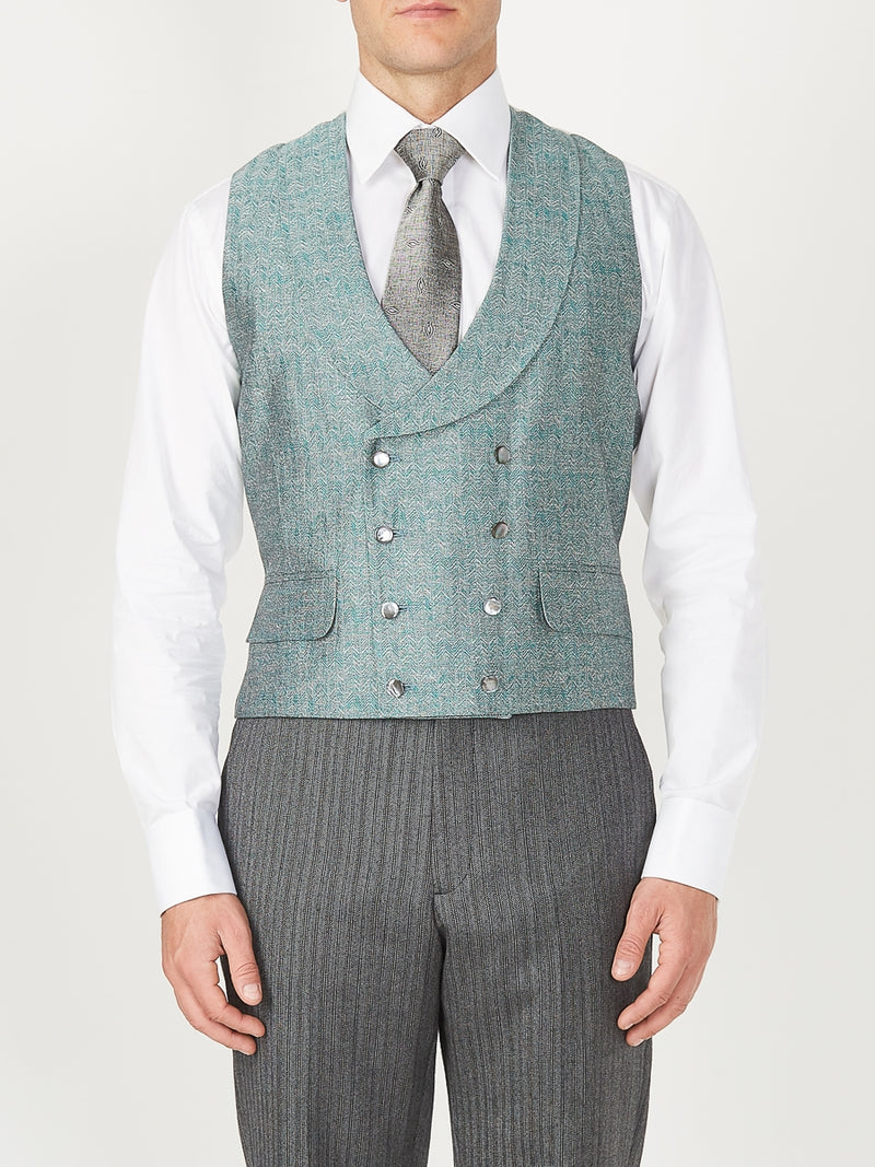 Teal Halton Silk Double Breasted 8 Button Shawl Lapel Waistcoat