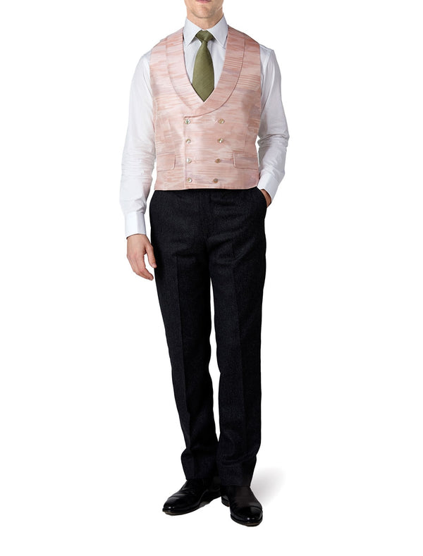 Pink Ikat Silk Double Breasted 8 Button Shawl Lapel Waistcoat