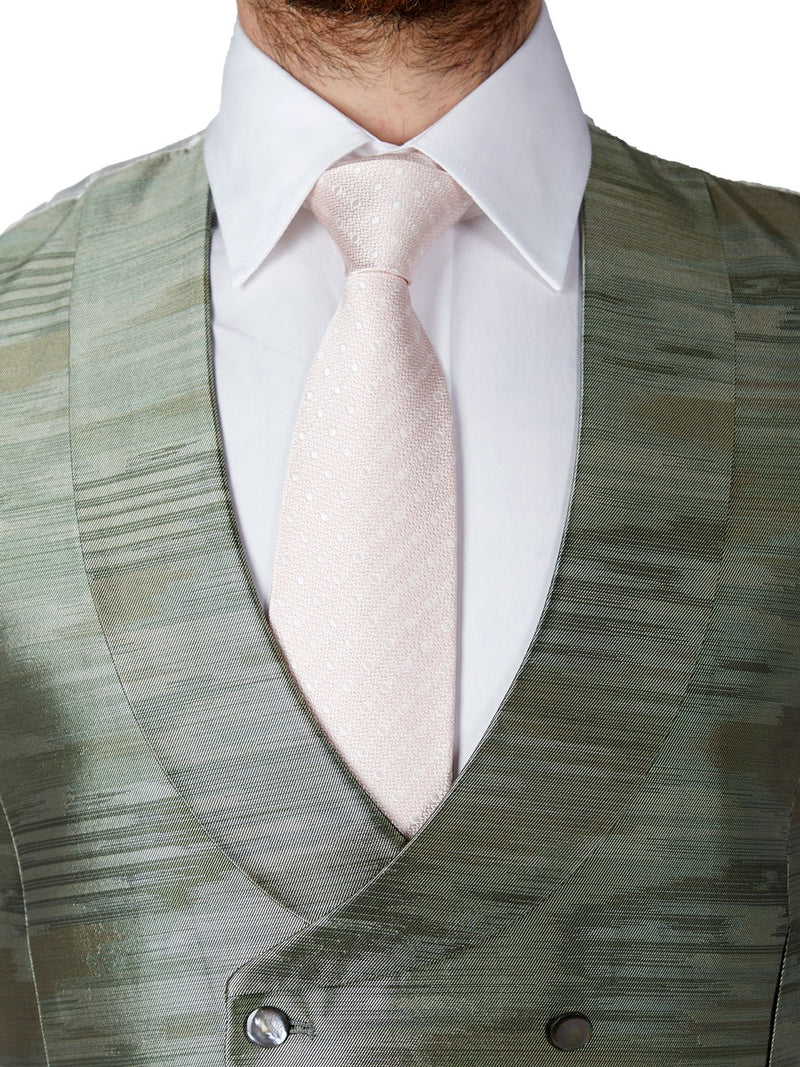 Pistachio Ikat Silk Double Breasted 8 Button Shawl Lapel Waistcoat