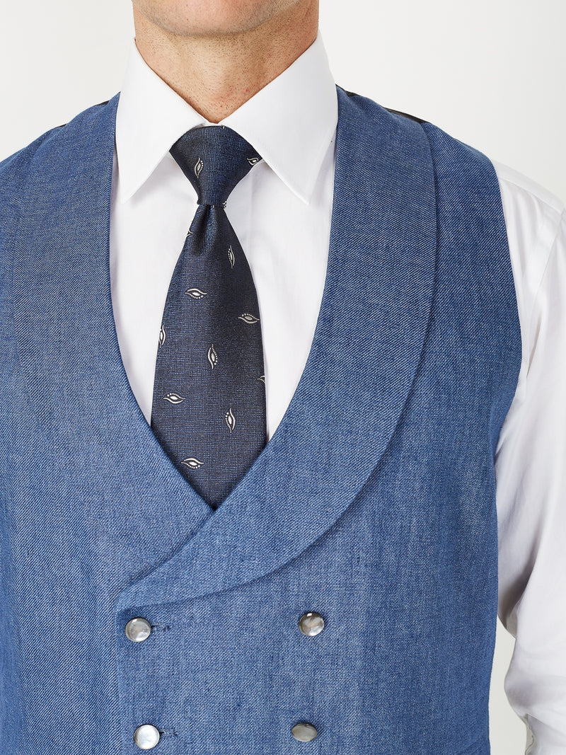 Indigo Woodcroft Linen Double Breasted 8 Button Shawl Lapel Piped Waistcoat