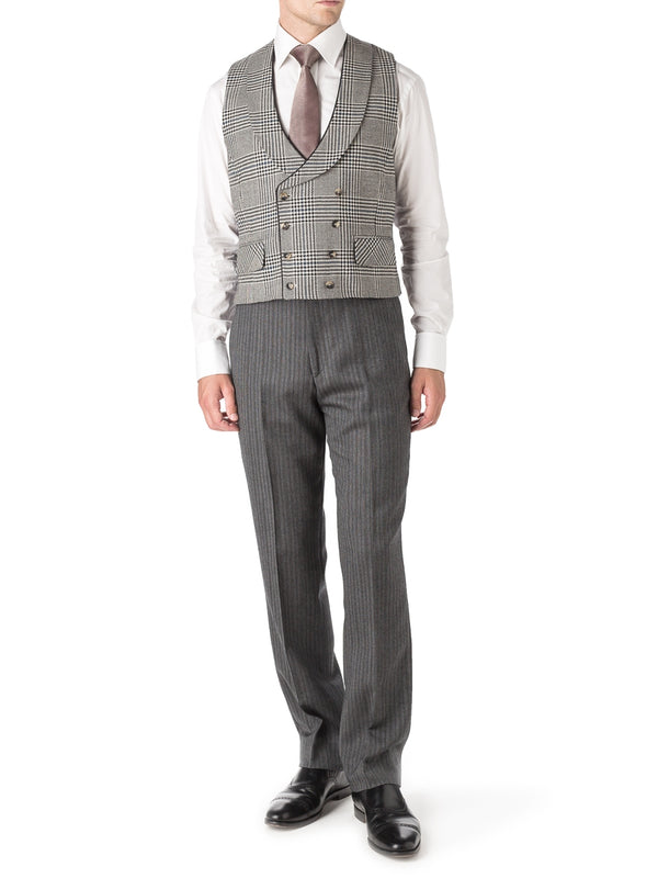 Oatmeal Clarence Check Wool Double Breasted 8 Button Shawl Lapel Piped Waistcoat