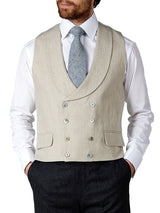 Stone Evering Linen Double Breasted 8 Button Shawl Lapel Piped Waistcoat