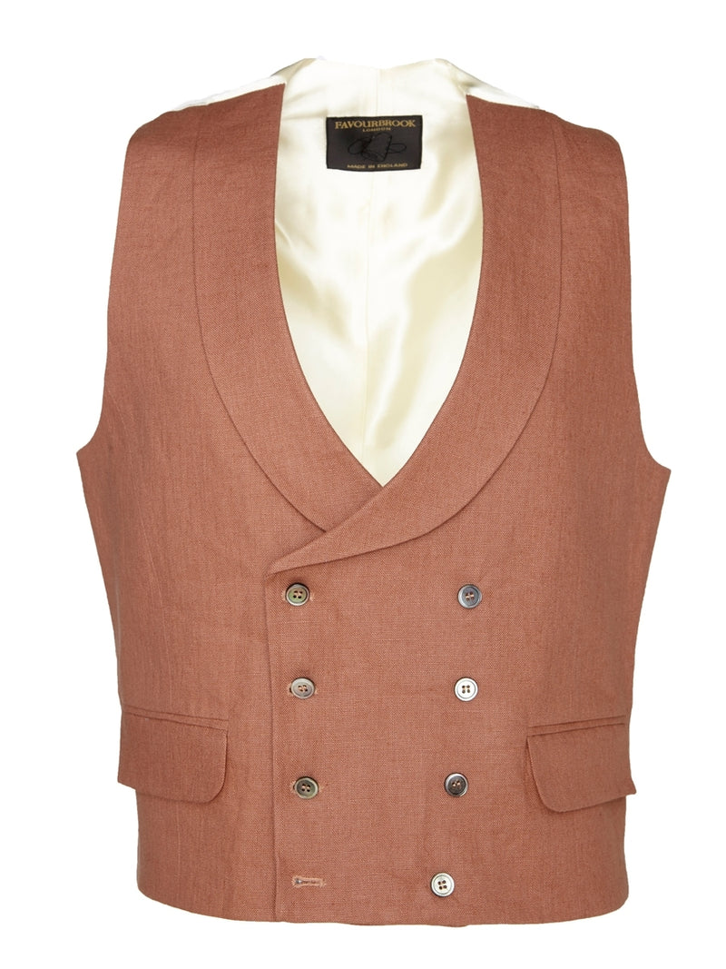 Pink Evering Linen Double Breasted 8 Button Shawl Lapel Waistcoat