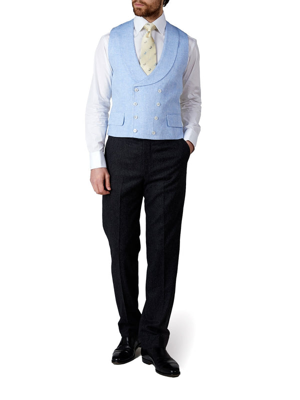Sky Evering Linen Double Breasted 8 Button Shawl Lapel Piped Waistcoat