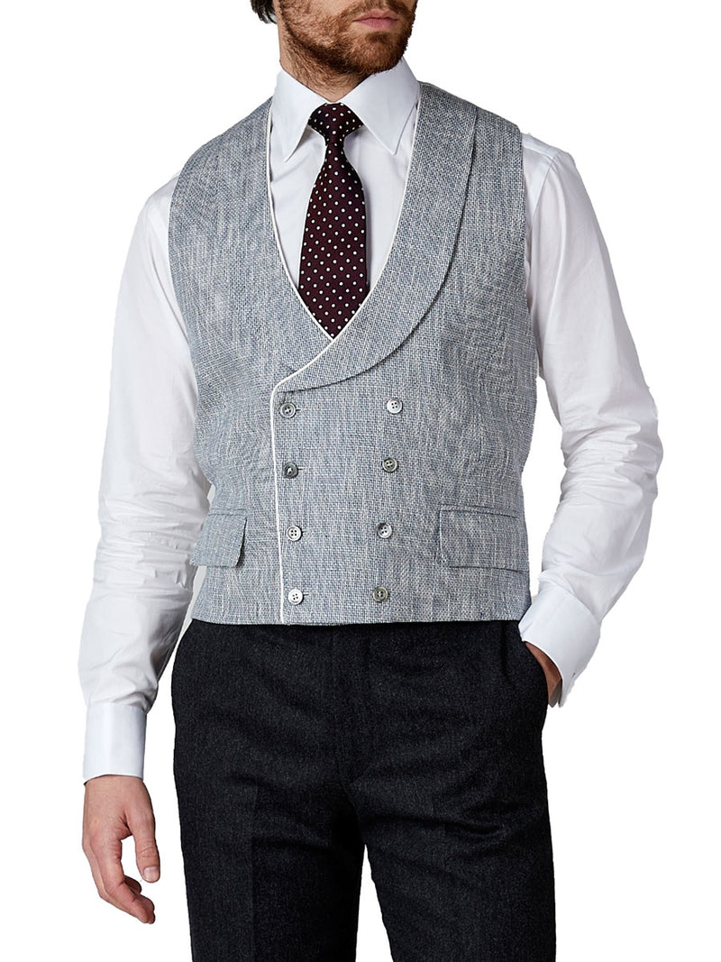 Navy Taurus Linen Double Breasted 8 Button Shawl Lapel Piped Waistcoat