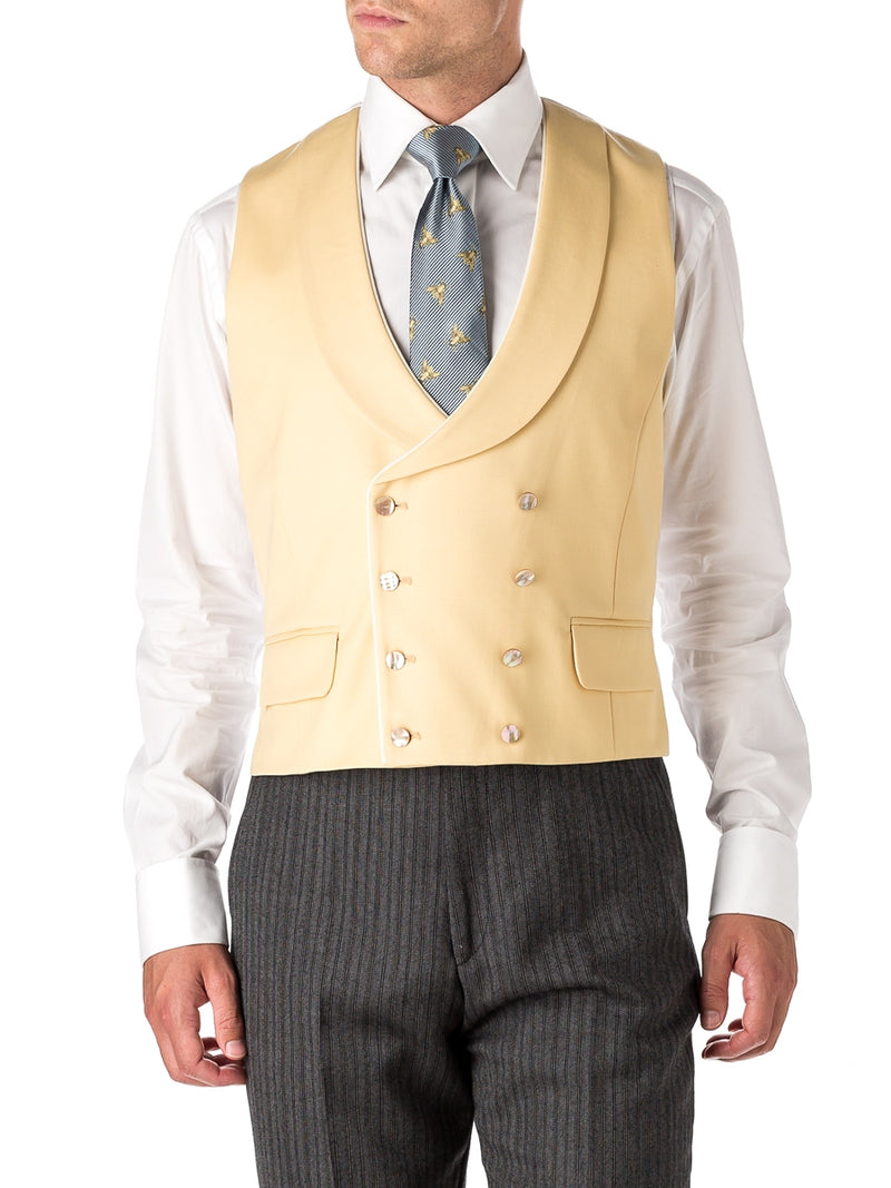 Yellow Gabardine Wool Double Breasted 8 Button Shawl Lapel Piped Waistcoat