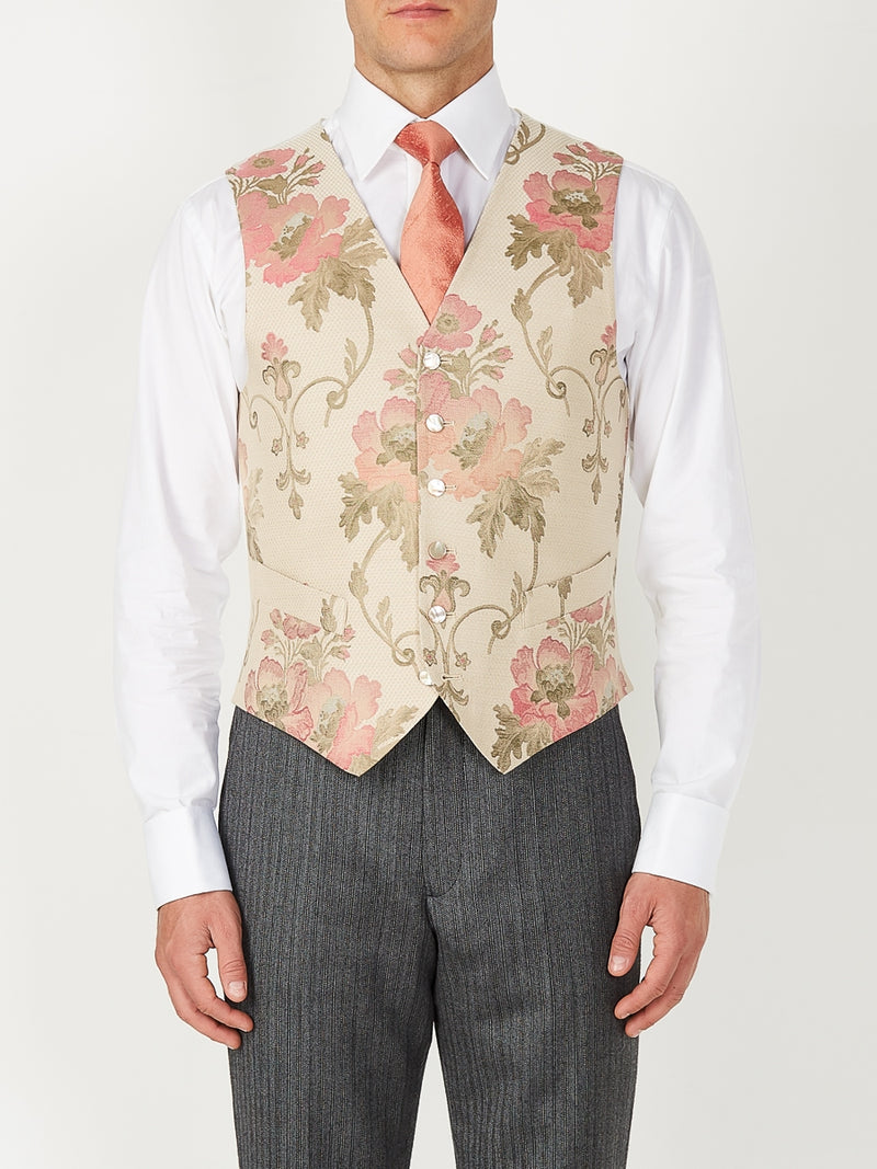 Cream Belvoir Cotton Single Breasted 6 Button Waistcoat