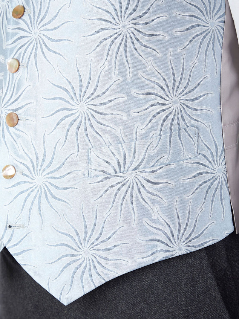 Pale Blue Starburst Silk Single Breasted 6 Button Waistcoat