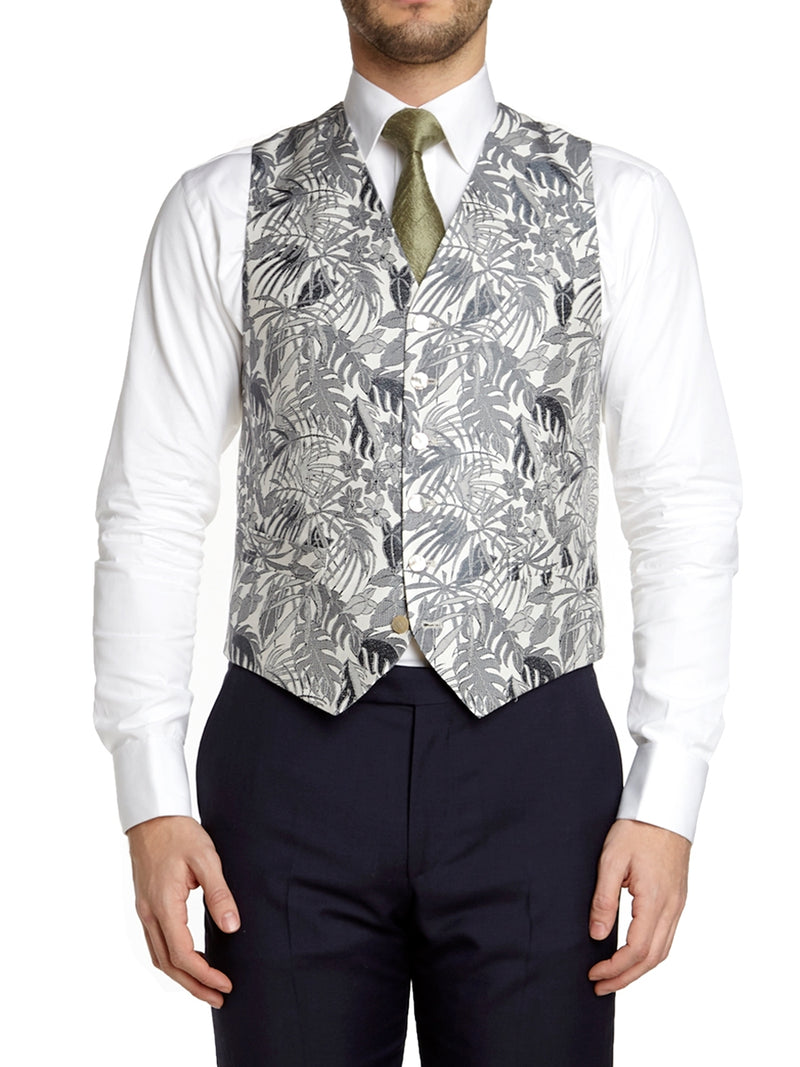 Ecru Botanics Silk Single Breasted 6 Button Waistcoat