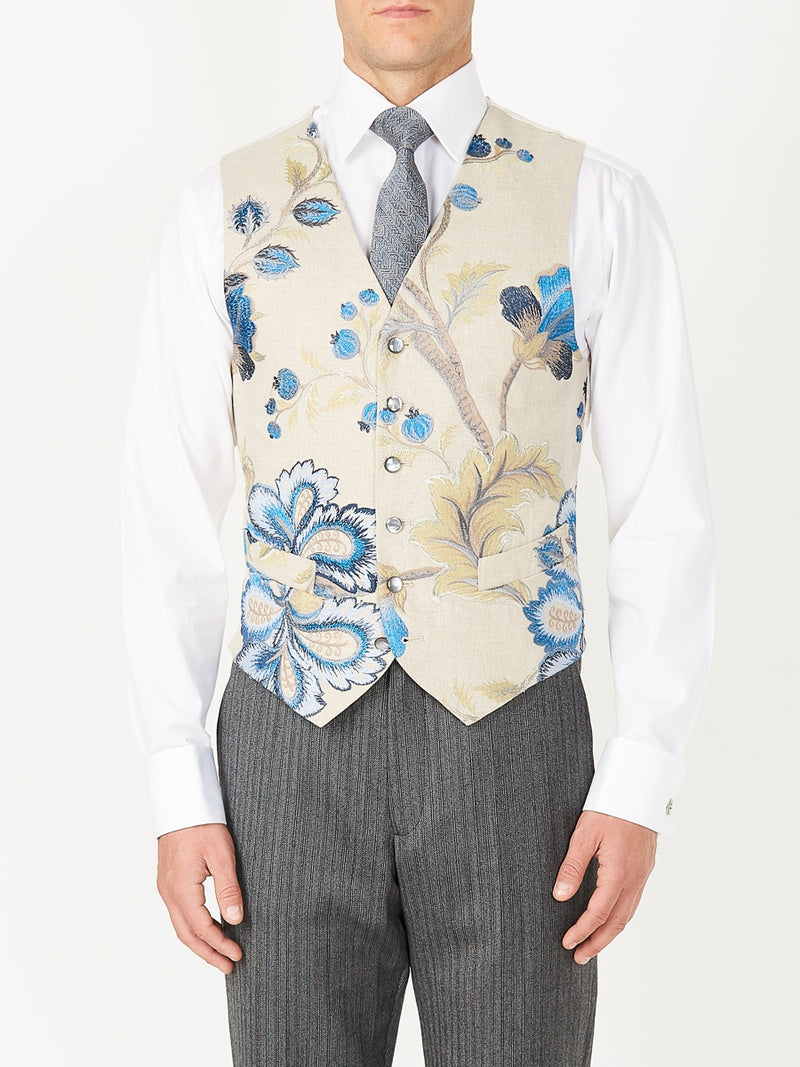 Stone Bressingham Linen Single Breasted 6 Button Waistcoat