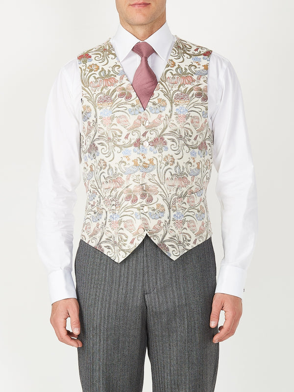 Ivory Davenport Silk Single Breasted 6 Button Waistcoat