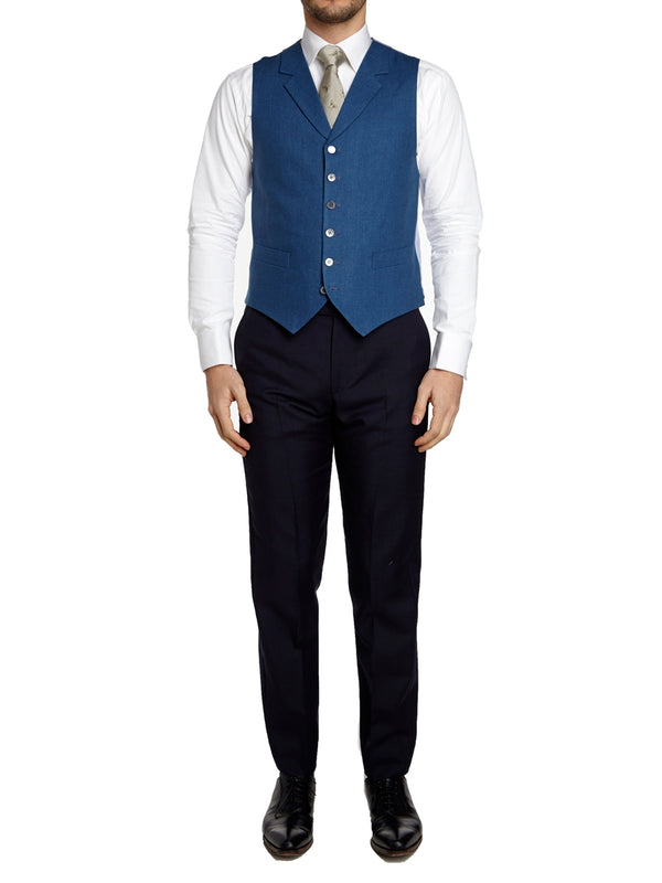 French Navy Evering Linen Single Breasted 6 Button Notch Lapel Waistcoat
