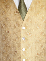 Gold Peacock Silk Single Breasted 6 Button Waistcoat