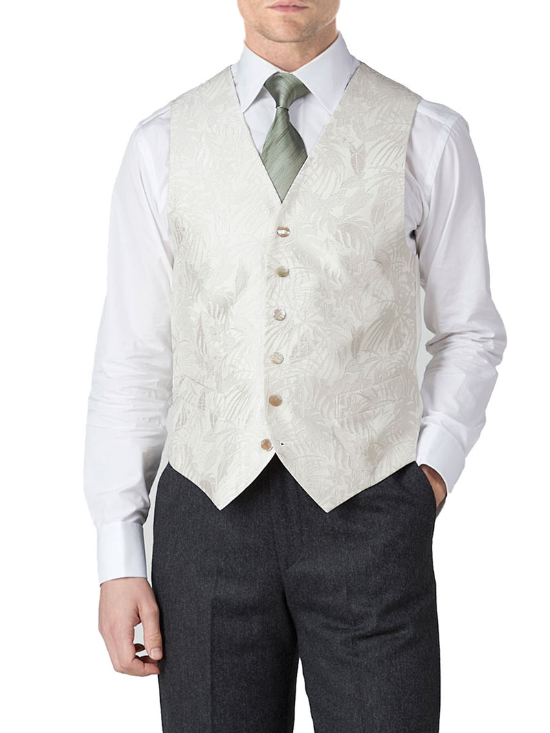 Ivory Botanics Silk Single Breasted 6 button Waistcoat