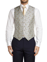 Ivory Peacock Silk Single Breasted 6 Button Waistcoat