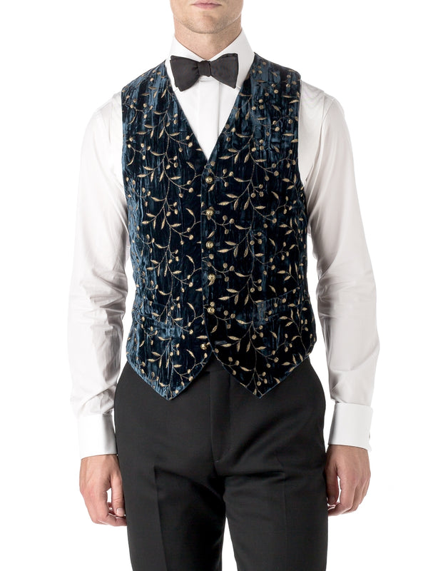 Navy Lurex Berries Velvet Single Breasted 6 Button Waistcoat