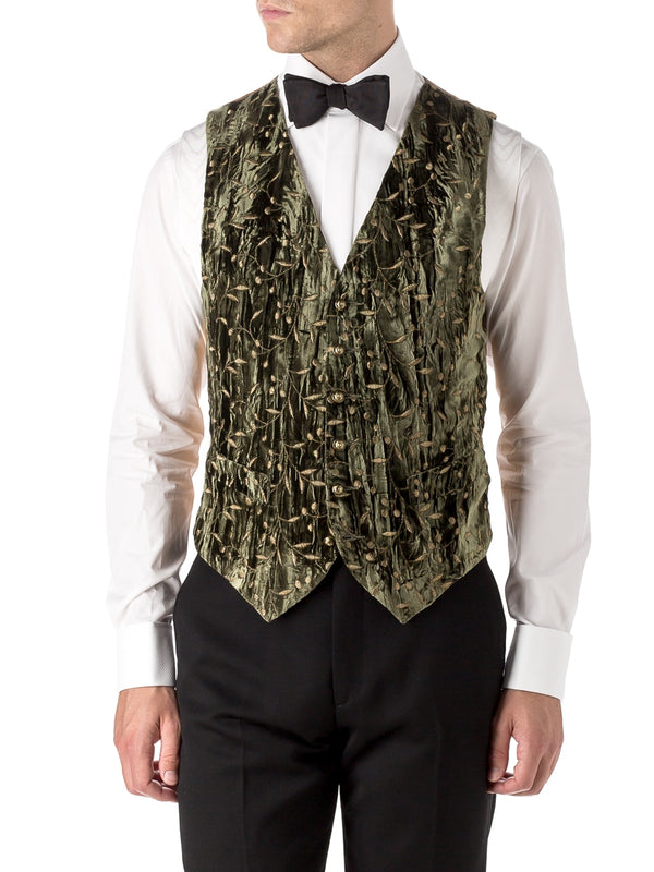 Olive Lurex Berries Velvet Single Breasted 6 Button Waistcoat