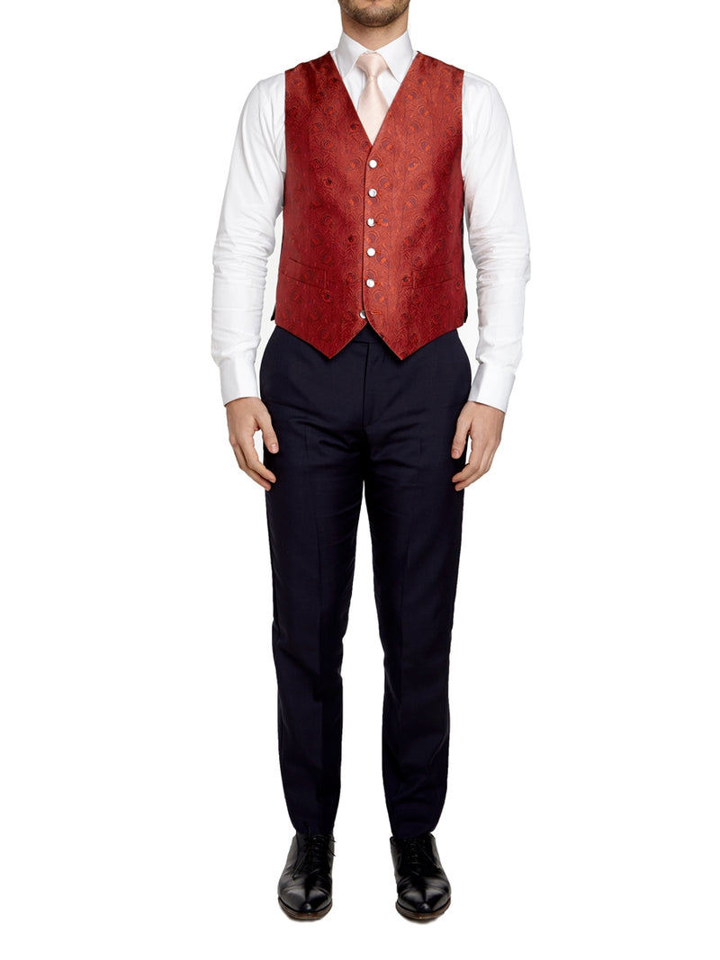 Red Peacock Silk Single Breasted 6 Button Waistcoat