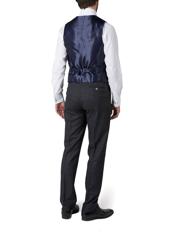 Navy Petersham Single Breasted 6 Button Waistcoat