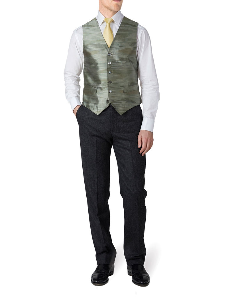 Pistachio Ikat Silk Single Breasted 6 Button Waistcoat