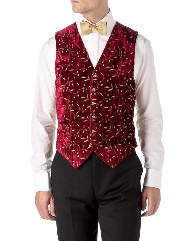 Red Lurex Berries Velvet Single Breasted 6 Button Waistcoat