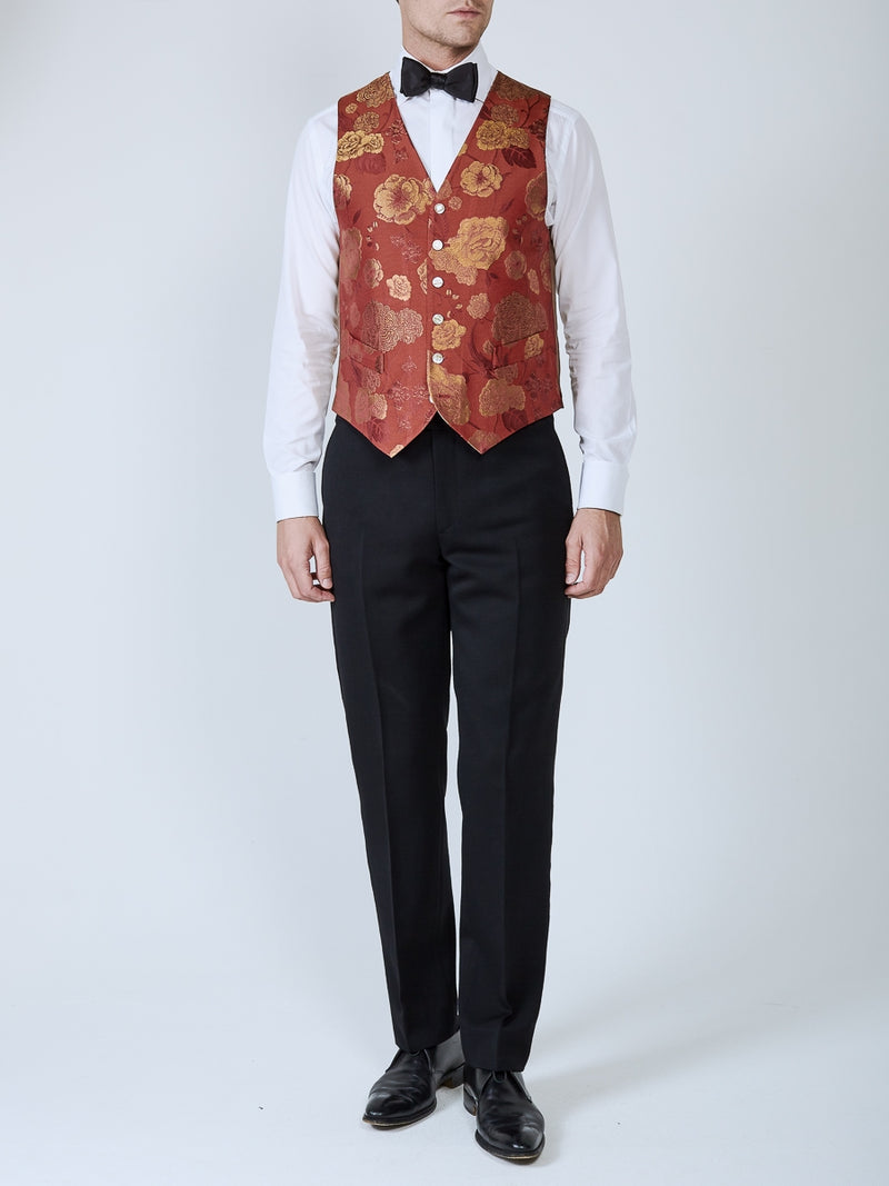 Red Winnington Silk Single Breasted 6 Button Waistcoat