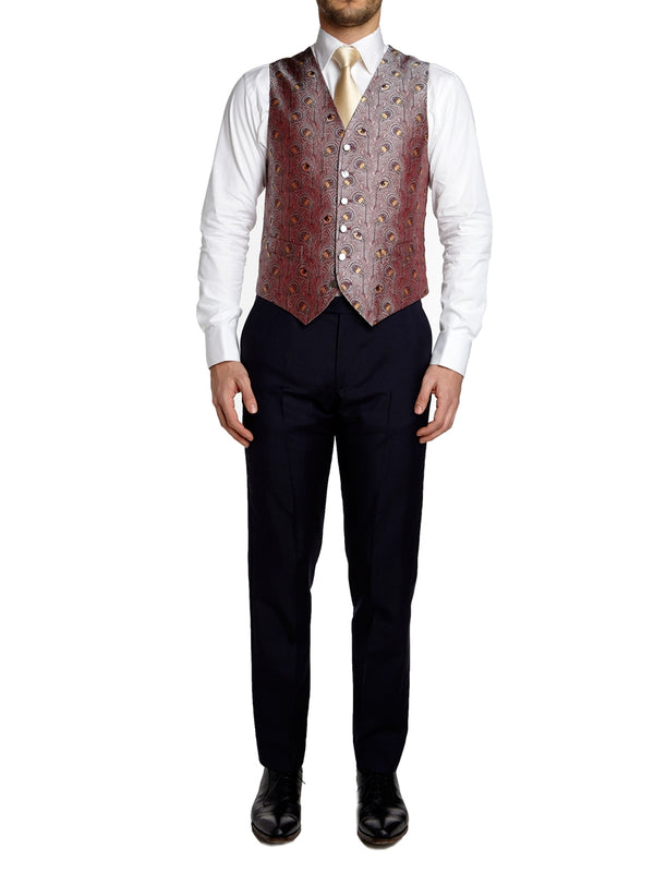 Rose Peacock Silk Single Breasted 6 Button Waistcoat