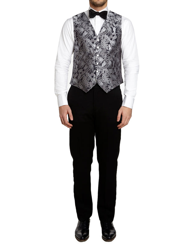 Silver Botanics Silk Single Breasted 6 Button Waistcoat
