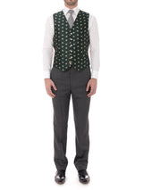 Green Bees Silk Single Breasted 6 Button Waistcoat
