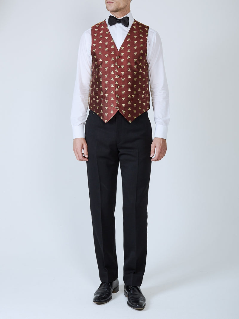 Red Bees Silk Single Breasted 6 Button Waistcoat