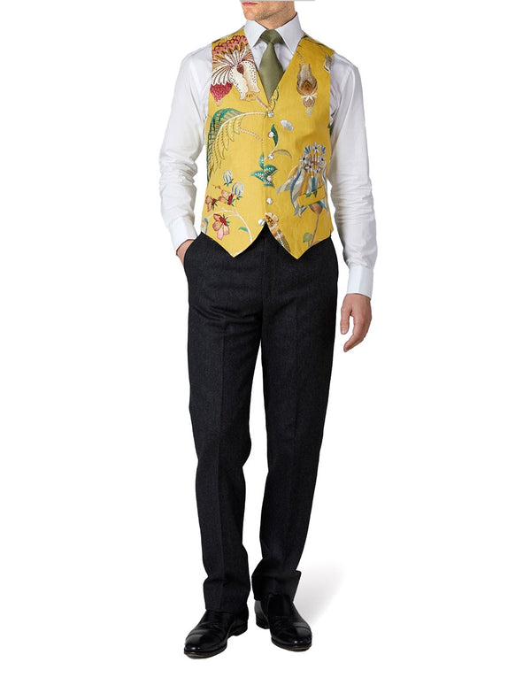 Yellow Petersham Single Breasted 6 Button Waistcoat