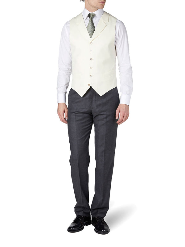Cream Gabardine Wool Single Breasted 6 Button Notch Lapel Waistcoat