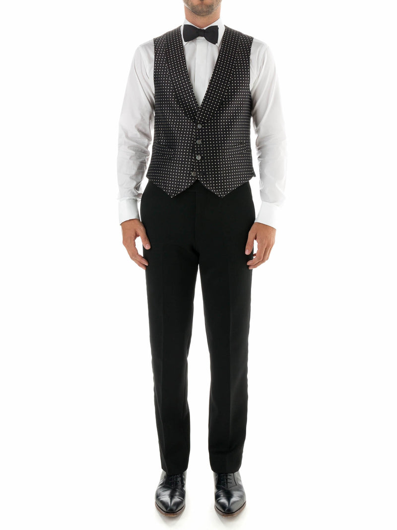 Black Pickwick Silk Single Breasted 4 Button Shawl Lapel Waistcoat