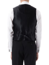 Navy Albert Silk Single Breasted 4 Button Shawl Lapel Waistcoat