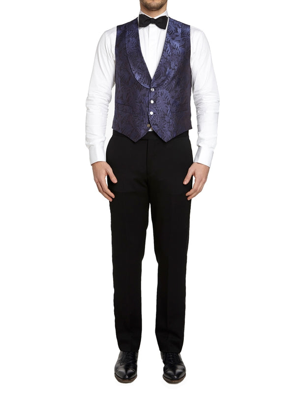 Navy Botanics Silk Single Breasted 4 Button Shawl Lapel Waistcoat