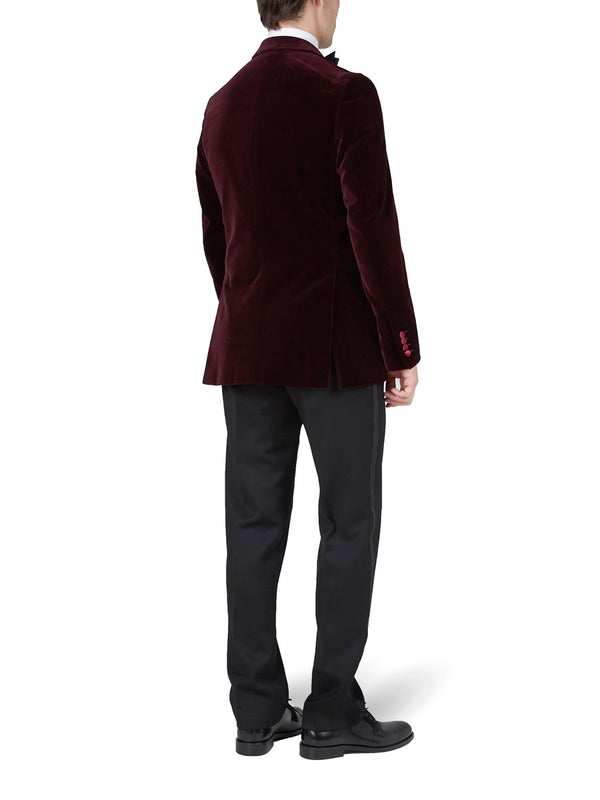 Burgundy Velvet Cotton Double Breasted Dinner Jacket