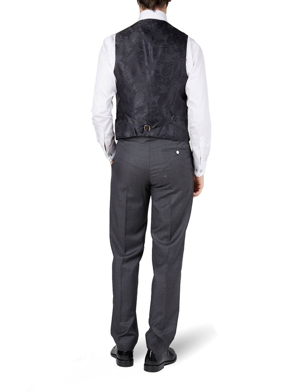 Black Velvet Cotton Single Breasted 6 Button Piped Waistcoat