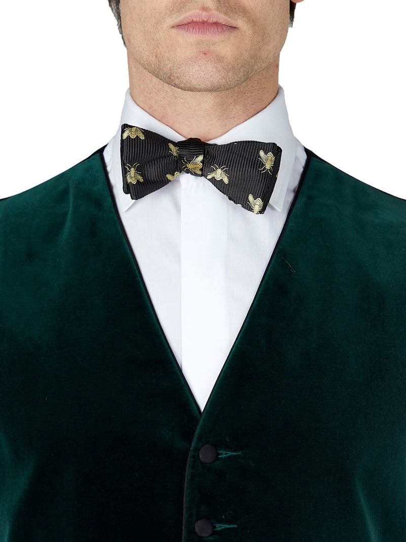 Racing Green Velvet Cotton Single Breasted 6 Button Piped Waistcoat