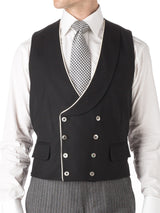 Black Wool Double Breasted 8 Button Shawl Lapel Piped Waistcoat